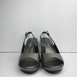 Michael Shannon Hart Gray Peep Toe Heels Size 7M
